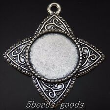 Antique Silver Alloy Darts Shaped Round Setting Tray Pendants Charms 16pcs 50251
