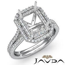 2 Row Halo Diamond Engagement Emerald Cut 1.6Ct Semi Mount Ring 14k White Gold