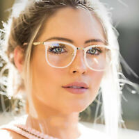 Fashion Metal Temple Horn Rimmed Clear Lens Frame Optical Retro Glasses Eyewear