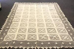 """72x144"""" Beige 100% Cotton Handmade Crochet Rectangle Tablecloths"""