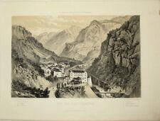 c1860 Eaux-Chaudes, Pyreneen, Pyrenees - Getönte Lithographie