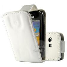 Samsung S5360 Galaxy Y  - Housse Etui à Clapet cuir BLANC + 1 protection écran