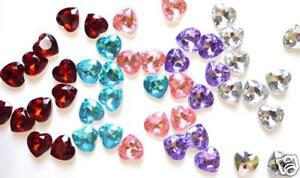 100 Craft Heart Shape Rhinestone 10mm/embellishment/jewel E36