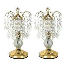 "Elaine Luxurious Set of 2 Table Lamps Crystal like Base Golden Finish 15""H NEW"