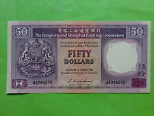 Hong Kong 1st January 1988 HSBC Bank $50 (aUNC, Pin Hole) : AS 284275