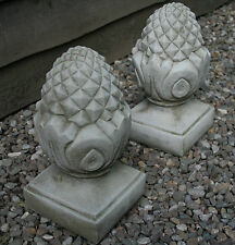 Pair Stone Pineapple Finial Gate Post Top Garden Ornament Statue Victorian Style