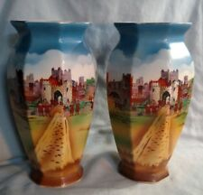 Pair of New Hall Merrie England Vases - Both As Is