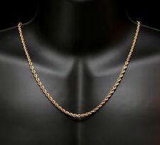 chaine corde maille torsadée doré de 60cm et 4mm de diamètre homme femme neuve