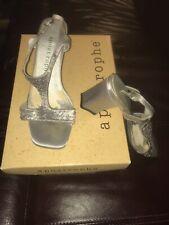 "APOSTROPHE Metallic Silver Leather Sandals Size 6.5M Villa 2.75"" Block Heels Box"