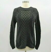 Madewell Sweater Pullover Womens XS Chunky Cable Knit Dark Gray Classic