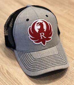Ruger Logo Trucker Hat Pro Gun Embroidered Patch 2nd Amendment Rifle Cap Grey
