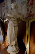 ancienne grande statue sculpture albatre marbre epoqu XIXe musicienne romantique