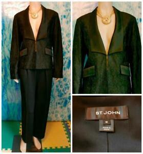 St. John Black Jacket M 10 Suit Blazer Satin Trim Floral Pattern