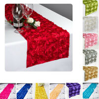 "12""x108"" 3D Rose Rosette Satin Table Runner Wedding Party Silver Ribbon Spiral"