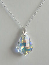 """18"""" BAROQUE CRYSTAL NECKLACE Clear AB STERLING SILVER 925 SWAROVSKI Elements"""
