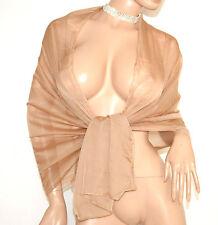 STOLA 70% seta foulard BEIGE donna maxi coprispalle scialle velato cerimonia A8