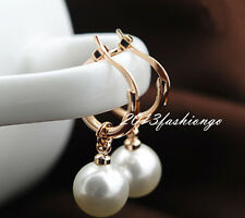 18K Rose Gold GP White Fashion Pearl Small Hoop Earrings E201664