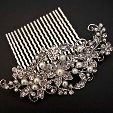NEW beautiful elegant wedding bridal hair comb pearl and crystal #1688