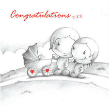 """Congratulations"" New Baby Card Cupids mum & dad push pram, baby waves red b&w"