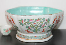 """A Large C19th 8.1"""" Chinese 'Tong Zhi' Hexagonal Turquoise High Footed Gilt Bowl"""