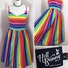 Hell Bunny Tea Dress 1950s Rainbow Summer Beach Bow Multi Pink Rockabilly 12 14