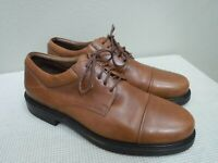 JOHNSTON & MURPHY Italy 10.5 Brown Leather Cap Toe Dress Casual Oxfords Shoes