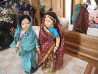 "VTG 2 Elegant TAGGED INDIA Dolls Handmade Costumes Veils Jewelry Stands 10.25"""