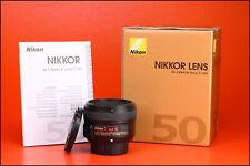 Nikon AF-S 50mm F1.8 G Autofocus Prime Full Frame Lens + Front & Rear Caps + Box