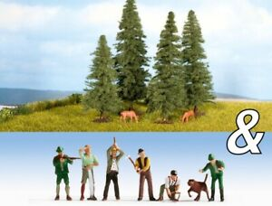 "N Scale Scenery - 94011 - Ornamental Set ""Hunters, Lumberjacks & Fir Trees"""
