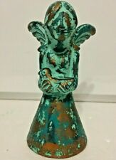 """Mexican Folk Art Angel Clay Pottery Bird Figure Turquoise Gold 8"""" Wings"""
