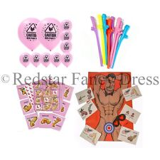 HEN PARTY GAMES PACKAGE FOR HEN NIGHT NOVELTY FUN WILLY BINGO BALLOONS STRAWS