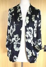 Wallis Jacket Blazer 12 14 M Navy Satin Floral Evening Holiday Pockets Summer