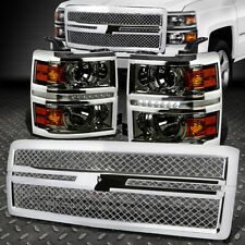 SMOKE PROJECTOR HEADLIGHT+LED DRL+AMBER SIDE+ABS MESH GRILL FOR 14-15 SILVERADO
