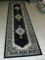 NEW BLACK TRADITIONAL PERSIAN DESIGN FLOOR HALLWAY RUNNER RUG 80X300CM