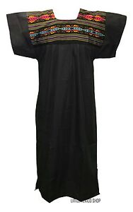 FIESTA Cuyaca MEXICAN DRESS Black WOVEN TRIBAL Tunic Embroidered All Sizes