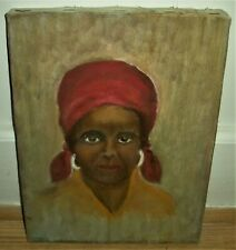 ANTIQUE c. 1940 PAINTING PORTRAIT OF AFRICAN AMERICAN WOMAN IN NEW ORLEANS vafo
