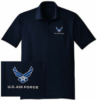 NEW US Air Force Embroidered Wicking DRYFIT Navy Polo Shirt - Free Shipping!