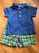 Carter's Baby Boy 2-Piece Outfit Collared T-Shirt & Shorts - SIZE 12 MOS