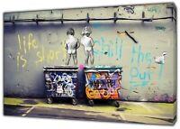 Banksy LIfe is short kids Art Reprint on Framed Canvas Wall Art Home Decoration