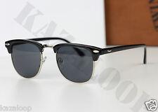 Unisex Retro Clásico Clubmaster Gafas para sol Marco Negro Plata para Hombre Mujer