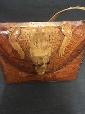Vintage Ladies Handbag / Purse Alligator Crocodile Taxidermy Whipstich Detail