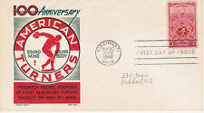 POSTAL HISTORY-1948 FDC 100TH ANNIVERSARY AMERICAN TURNERS CACHET CRAFT KEN BOLL