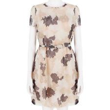 Valentino Blush Kakao Floral Lace-Print Seide Organza Sommer Tee Kleid IT40 UK8