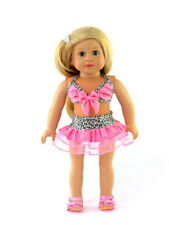"""18"""" Doll Pink & Cheetah Bathing Suit Animal Print 2-Pc Swimsuit for 18"""" Doll"""