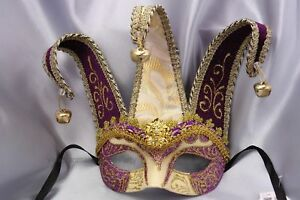 Purple Masquerade Mask Venetian Jolly Jester Birthday Costume Prom Party