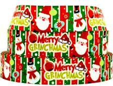 "Grosgrain Ribbon Ribbon 7/8"" & 1.5"" Merry Grinchmas Santa Snowman Printed."