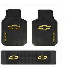 CHEVY TRUCK Floor Mats Front & Rear OEM LOGO Factory Emblem Rubber Liners Black