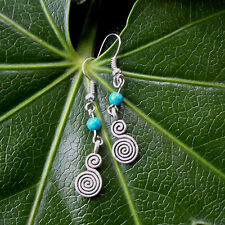 Vintage Antique Silver Spiral Turquoise Beads Drop/Dangle Hook Earrings Handmade