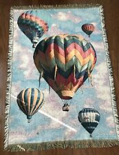 Vintage Goodwin Weavers Tapestry Throw Blanket Hot Air Balloons