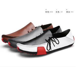 Men Soft Lazy Flat Driving Shoes Casual Light Weight Leather Lace Up Loafers